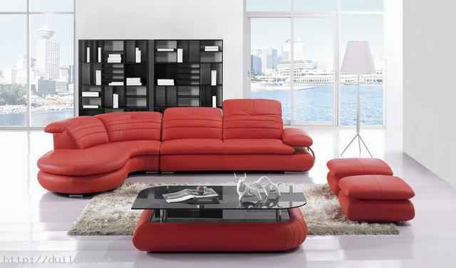 Red leather sofa to decorate living room modern house pictures - Chaise en cuir rouge ...