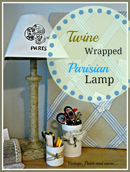 Vintage, Paint and more... DIY lamp, twine craft, stenciled lamp shade