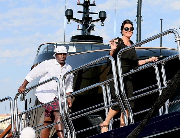 Matriarch Kris Jenner Parties With Boyfriend  Corey Gamble Aboard Luxury Yacht in France Amid Family Drama