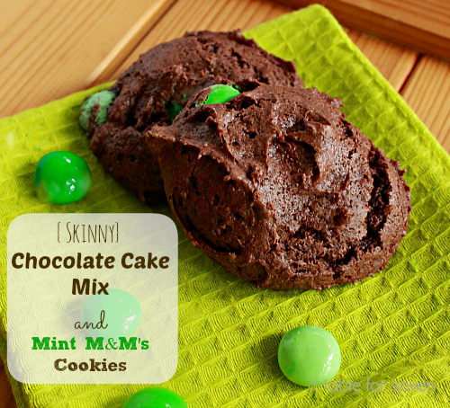 Skinny Chocolate Cake Mix with Mint M&M's Cookies