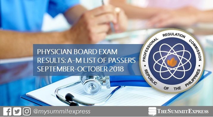 LIST OF PASSERS: A-M September - October 2018 Physician board exam PLE result
