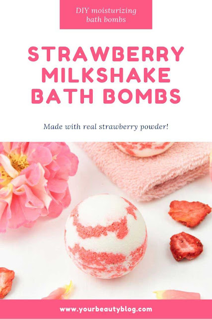 How to make a strawberry milkshake bath bomb without cornstarch. These cute and unique bath bombs would make a great gift. These natural bath bombs are fizzy and moisturizing. This DIY easy recipes uses essential oils for natural scents.  Home made pretty and cool bath bombs.  If you need ideas for summer bath bombs, try this recipe.  #bathbomb #diy #strawberry
