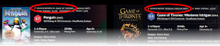 The top portion of the Board Game Geek website listings for Penguins and Game of Thrones: Westeros Intrigue, side by side, with the links to each other circled in red.