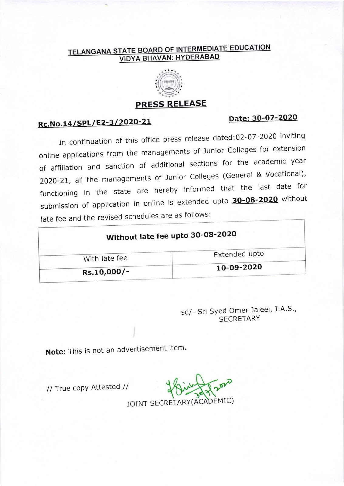 Telangana Intermediate Board Submission of Application Late Fee Notification