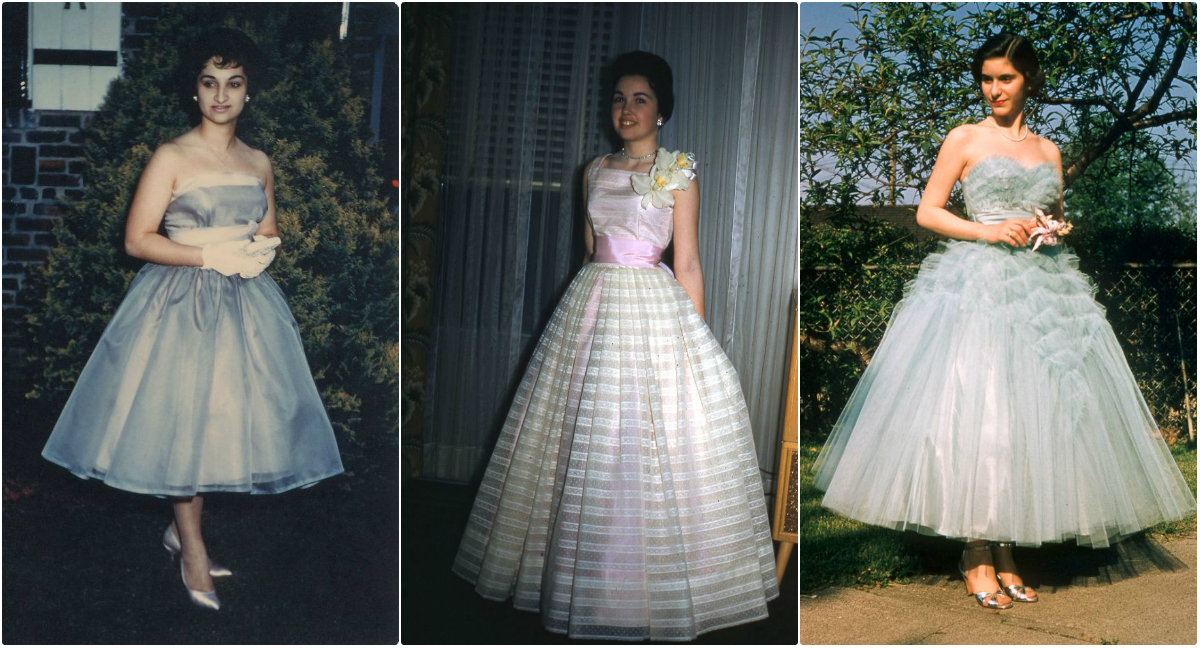 40 Cool Snaps That Show the '50s Formal Dresses of Young Women