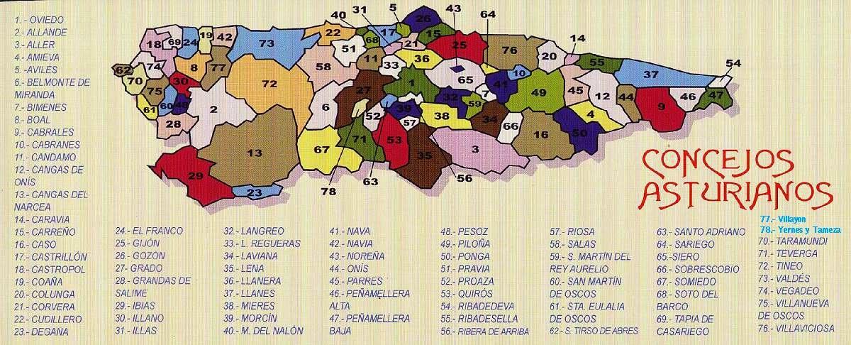 Mapa De Asturias Concejos.Asturias Asturias 78 Municipios