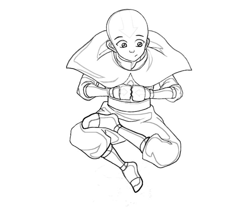 Avatar Aang Coloring Page: Coloring Avatar Aang Avatar State Coloring Pages