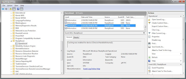 Windows event viewer shows log of ReadyBoost events including speed tests