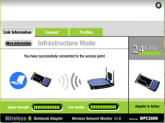 Status Connect Laptop ke Access Point