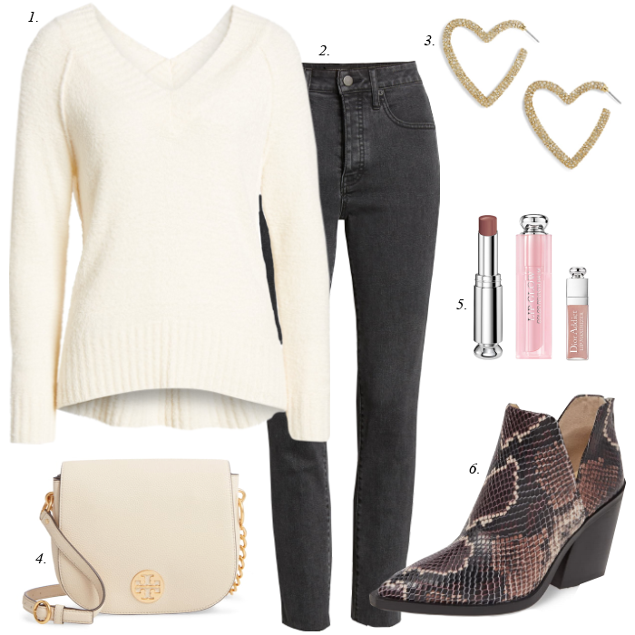 vince camuto gigietta bootie, grey jeans, white sweater, fall outfit nordstrom anniversary sale