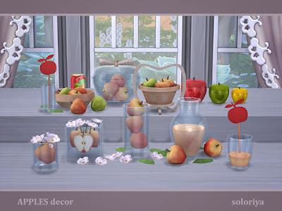Apples Decor Яблочный декор для The Sims 4 Вкусный декоративный набор с яблоками. Включает в себя 11 объектов, имеет 3 цветовые палитры. Категория: Декоративные - Беспорядок для всех предметов. Предметы в наборе: - два вида стаканов - два вида корзин с яблоками - четыре вида яблок в стекле - кувшин - сок в банке - чаши. Автор: soloriya