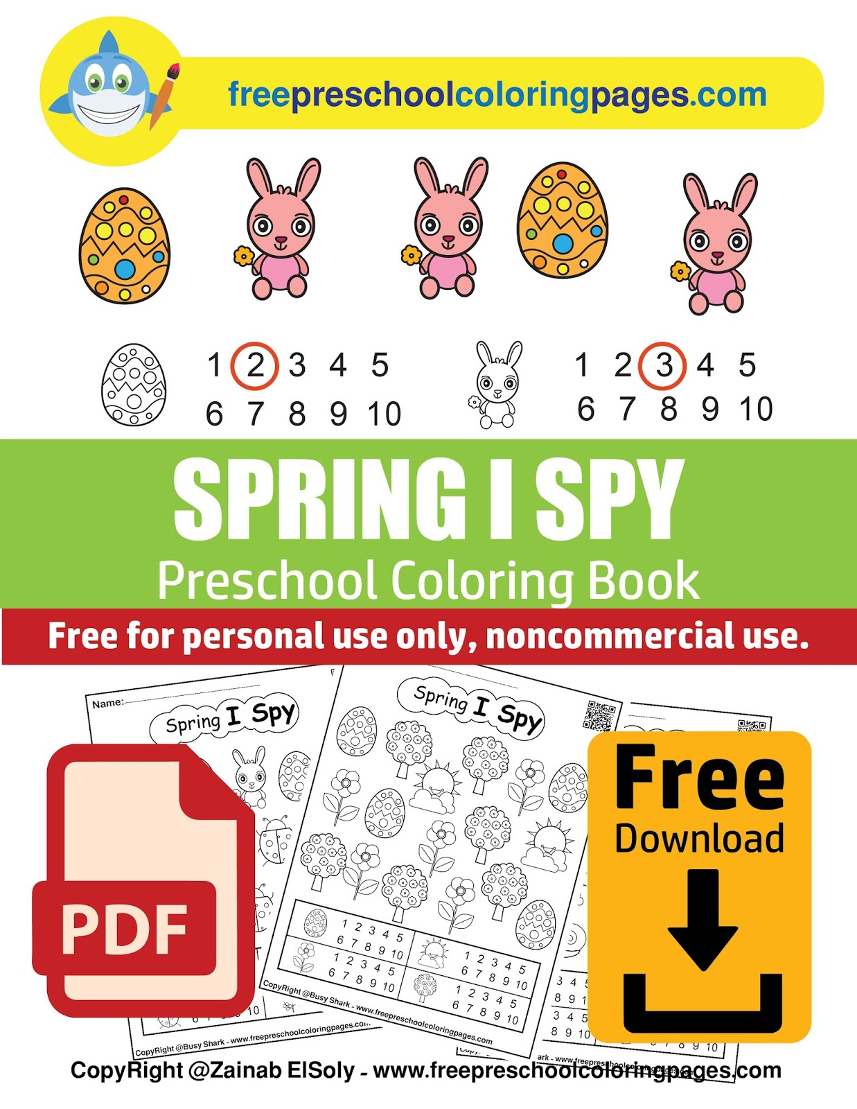Spring I Spy free preschool coloring pages - easy level