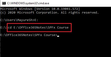 Navigate to SPFx Folder