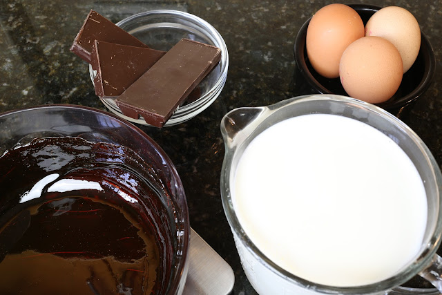 ingredientes para flan de chocolate