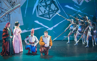 IN PERFORMANCE: (from left to right) Countertenor ANDREY NEMZER as Alfonso, mezzo-soprano VIVICA GENAUX as Veremonda, tenor STEVEN COLE as Don Buscone, bass-baritone JOSEPH BARRON as Roldano, and dancers as Veremonda's amazon regiment in Pier Francesco Cavalli's VEREMONDA, L'AMAZZONE DI ARAGONA at Spoleto Festival USA, 2 June 2015 [Photo © by Julia Lynn Photography]