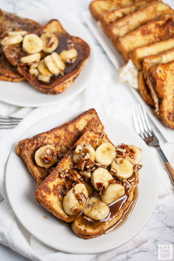 Bananas Foster French Toast served on white plates