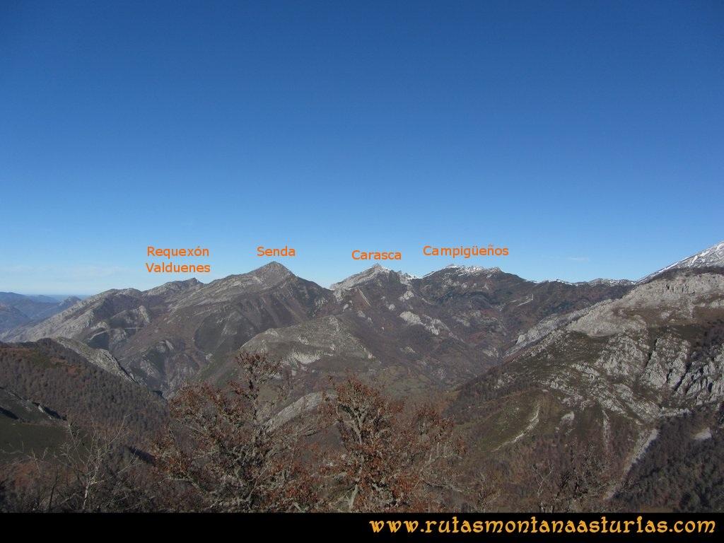 Pico Mosquito desde Tarna: Desde el pico Mosquito, vistas hacia el Requexón de Valdunes, Senda, Carasca y Campigüeños