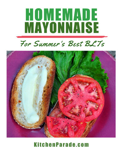 Homemade Mayonnaise for BLTs ♥ KitchenParade.com, airy pillows of just-made mayo, perfect for BLTs.