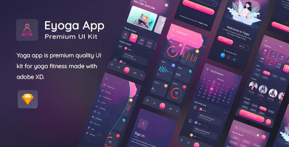 Best Yoga Fitness App Premium UI Kit For Sketch