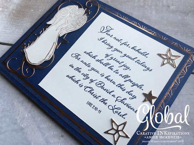 By Angie McKenzie for Global Creative Inkspirations; Click READ or VISIT to go to my blog for details! Featuring the So Many Stars Bundle (available at 10% off), God's Peace and Light & Peace Cling Stamp Sets along with the Brightly Gleaming Speacialty Designer Series Paper and Copper Foil Sheets; #somanystarsbundle #godspeacestampset #lightandpeacestampset #stitchedstarsdies #angels #stampinupdies  #christmascards #reasonfortheseason #christmas #copper  #globalcreativeinkspirations