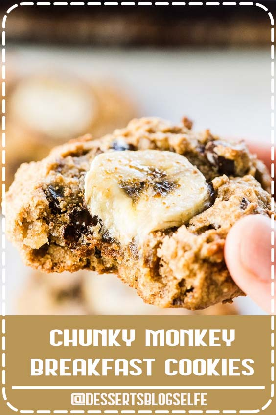 Chunky Money Paleo Banana Cookies are chewy and flavorful healthy cookies that are completely grain-free. They taste like dessert but are full of good for you ingredients making them perfect for busy weekday mornings. #DessertsBlogSelfe #Banana #Cookies #HealthyDesserts