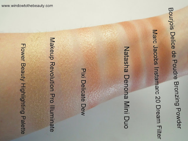 Natasha Denona Mini Bronze and Glow swatches compare to drugstore