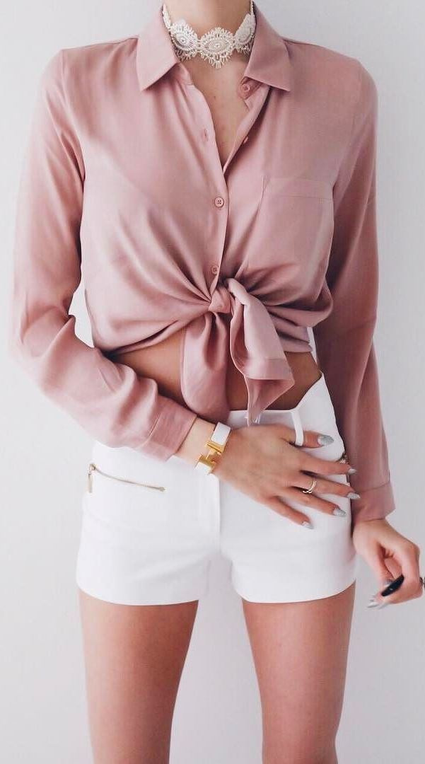 cool summer outfit: blouse + shorts