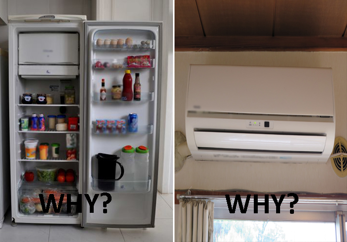 Why Air Conditioning Placed At The Top Of The Room And Why Does a Single Compartment Refrigerator Have the Freezer Always At The Top In The  Refrigerator