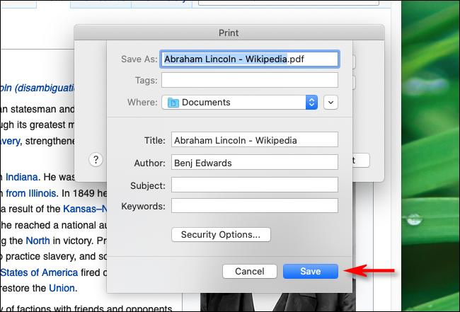 اكتب اسم الملف وانقر فوق Save in Firefox على نظام Mac