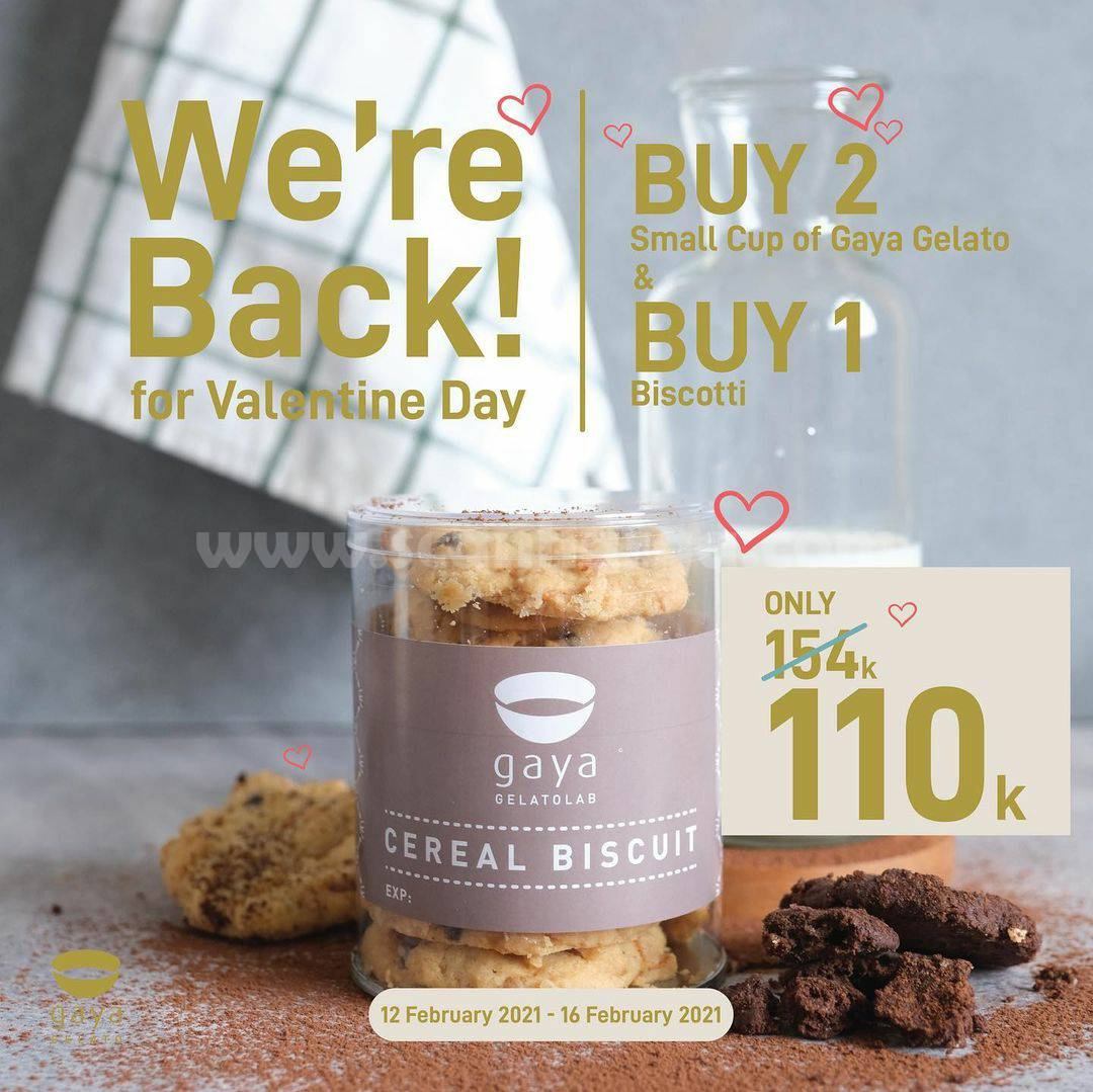 GAYA GELATO Promo Valentine Day Package! Buy 2 Small Cup & Buy 1 Biscotti Only 110K