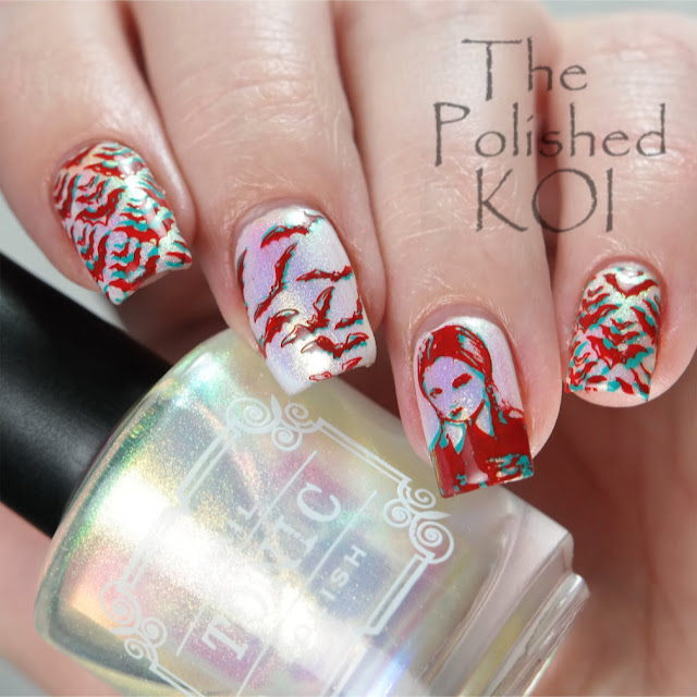 3D Anaglyph Nail Stamping - Bats and Wednesday Adams