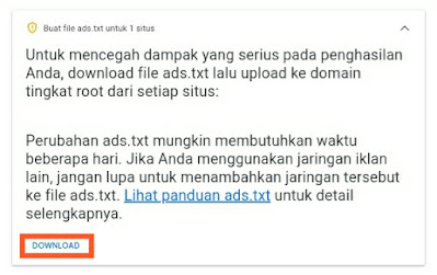download file ads.txt di adsense