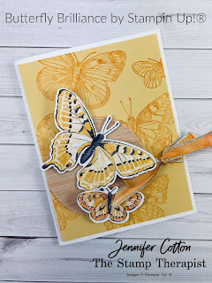 This card uses Stampin' Up!'s Butterfly Brilliance Bundle.  The Butterfly Bijou designer paper and Natural Touch Specialty Paper are both while supplies last!  The Butterfly Brilliance Bundle is available now!  Click the picture to go to blog post and see link to video with instructions!  Measurements on the blog.  #StampinUp #StampTherapist #ButterflyBrilliance