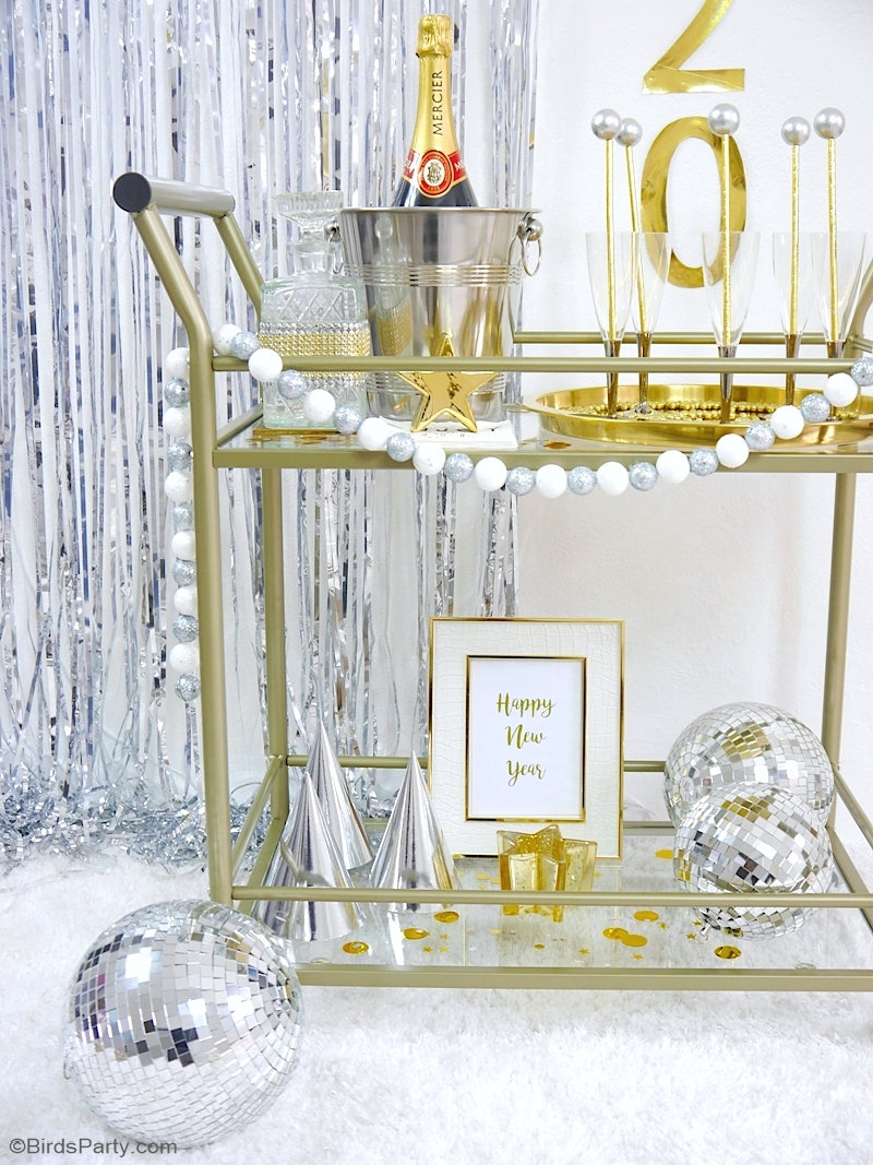 DIY New Year's Eve Bar Cart Decor + FREE Printables