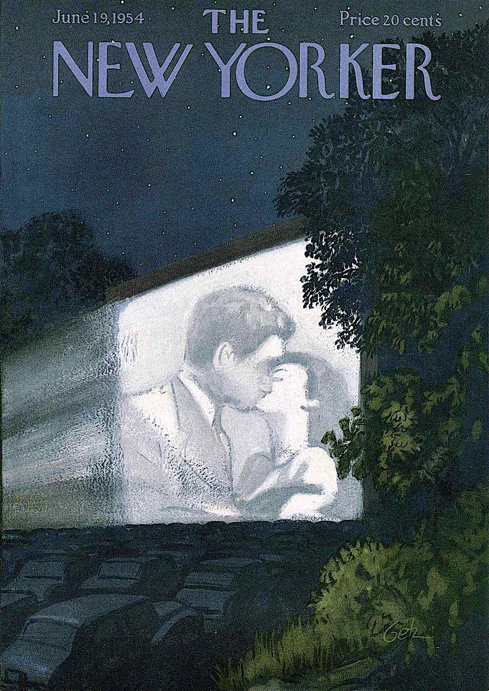 an Arthur Getz illustration for the New Yorker Magazine June 19 1954, the drive-in theater at night