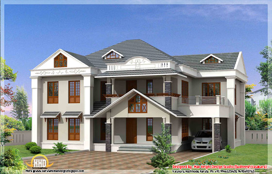 Beautiful Kerala style house elevation 3