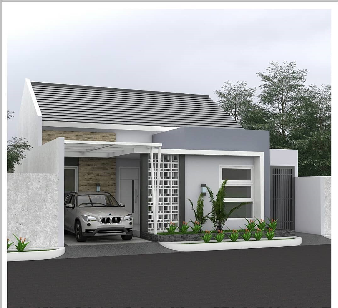 Desain Dan Denah Rumah Tema Abu Putih Dengan Ukuran 9 X 11 M Terdapat 3 Kamar Tidur Homeshabby Com Design Home Plans Home Decorating And Interior Design
