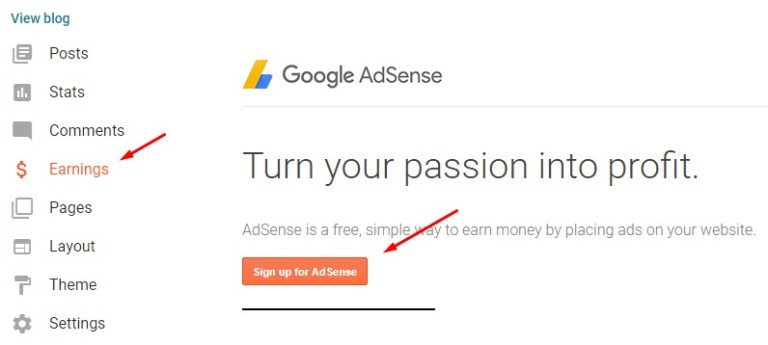 Register Adsense blogger