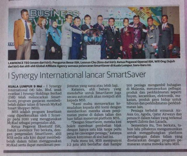 Keratan Akhbar Program Mykad Smart Shopper Versi Online atau dikenali sebagai SmartSaver