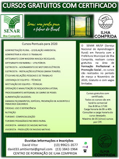 Ilha Comprida e SENAR informam que inscrições para 19 cursos de formação profissional podem ser feitas a partir do dia 10/02