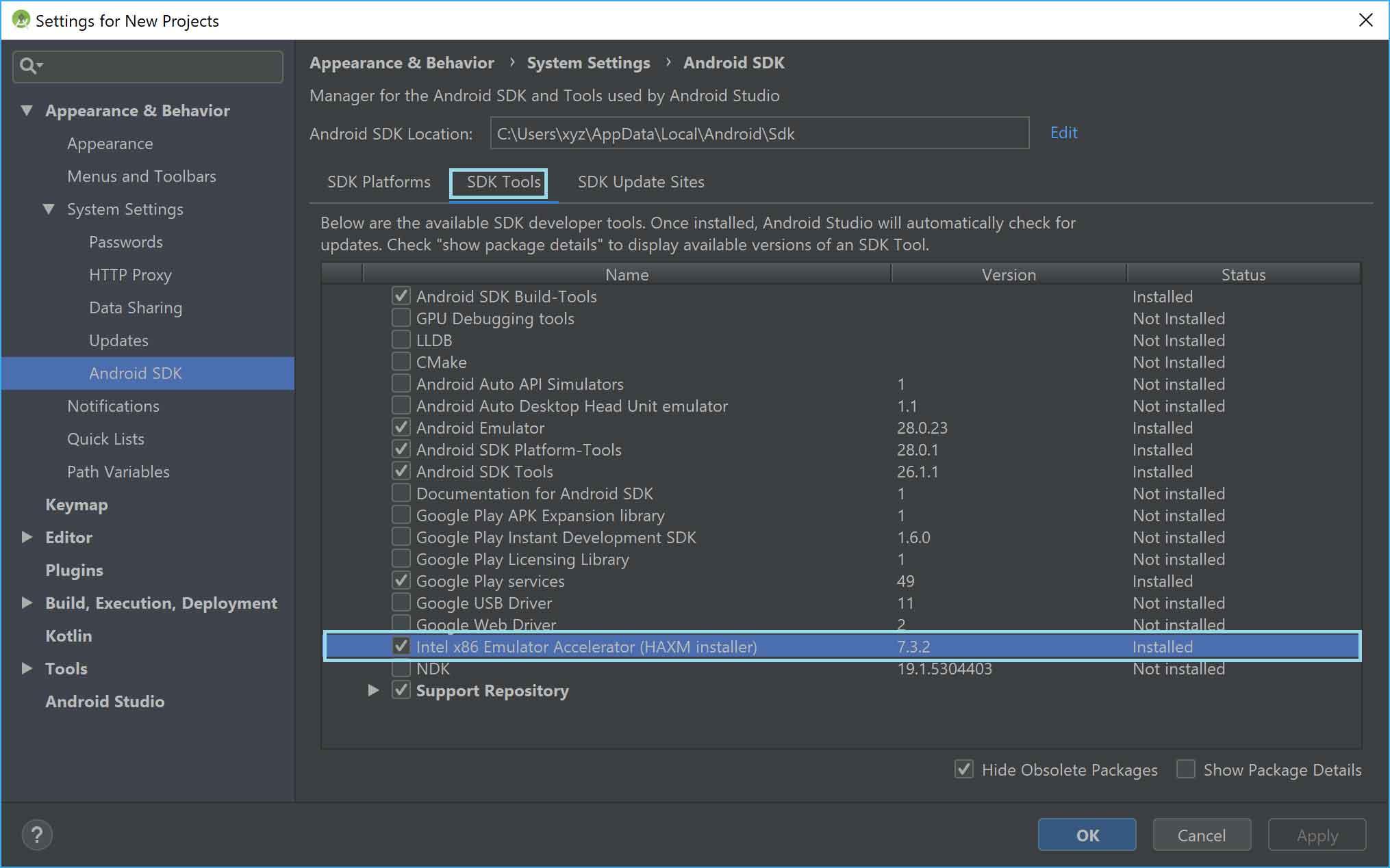 تفعيل خاصية HAXM installer في أندرويد ستوديو