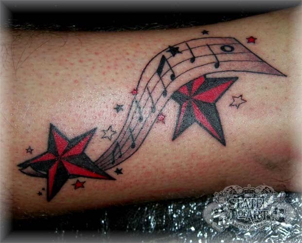 Music Notes And Stars Tattoos Sleeve