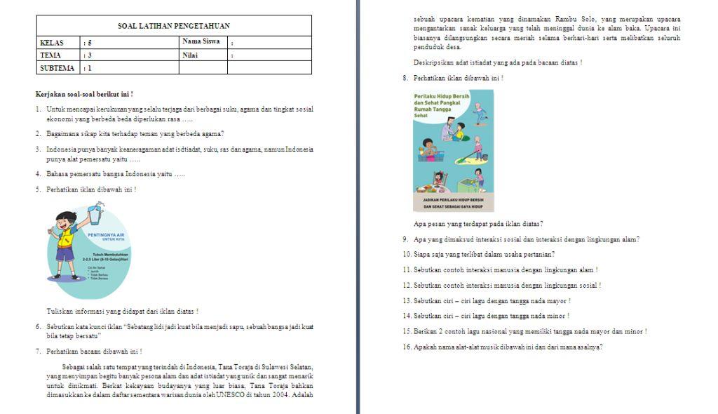 Soal ulangan harian kelas 5 SD/MI Tema 3