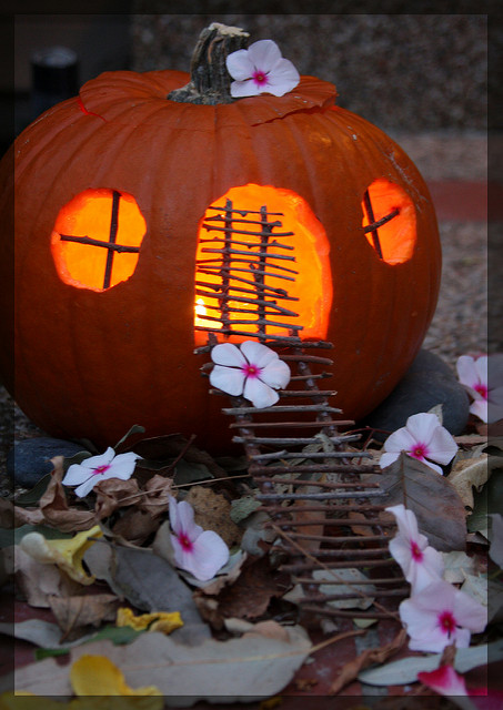 Twig windows and doors for this pumpkin fairy home