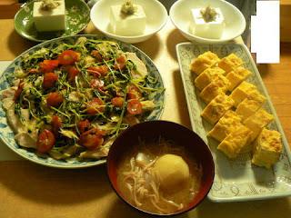 酢鶏 ミョウガ奴 玉子焼き ジャガイモ味噌汁