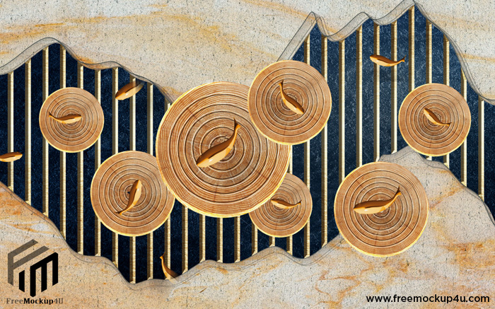 New Classical 3D Annual Ring Wooden Fish Design Embossed Background Wall
