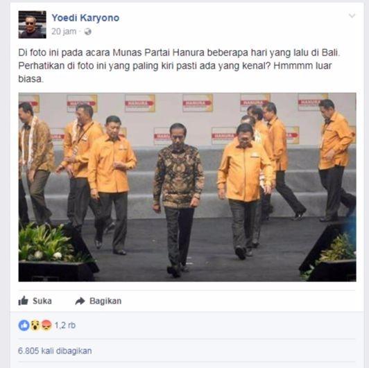 Akun Ini Fitnah Pemerintahan Jokowi. Ahok Tidak Dipenjara Tapi Ikut Rapimnas Hanura di Bali. Netizen Gregetan, Simak!
