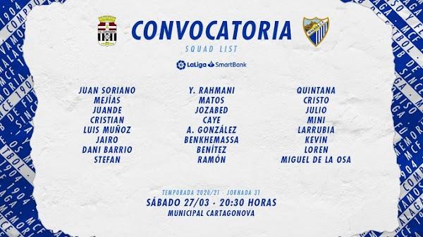 Málaga, convocatoria ante el FC Cartagena