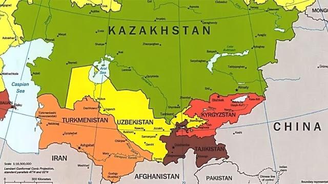 Peta Asia Tengah Beserta Nama Negaranya
