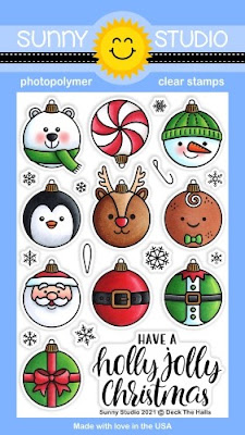 Sunny Studio Stamps Deck The Halls Holiday Christmas Ornament 4x6 Clear Photopolymer Stamp Set